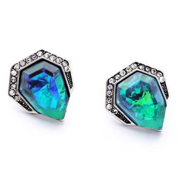 Vintage Style Triangle Blue Green Rhinestone Acrylic Stud Earrings