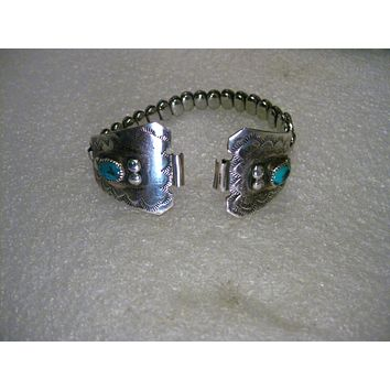 STERLING SILVER STRETCH RING SET HEART CHARM SILVER AND TURQUOISE 925 LADIES