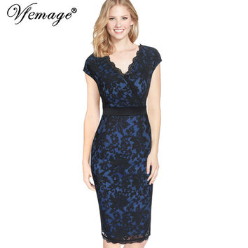 Vfemage Womens Elegant Vintage V Neck Mesh Embroidery Tunic Party Evening Mother Of Bride Sheath Bodycon Pencil Dress 3103