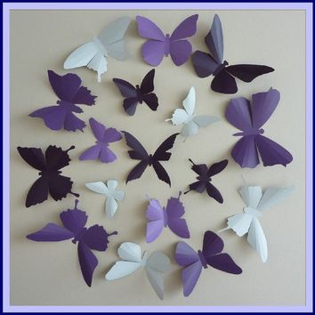 3D Wall Butterflies - 45  Lavender, Lilac Purple, Dark Plum,  White Butterfly Silhouettes, Nursery, Home Decor, Wedding