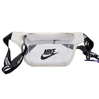 NIKE casual fashion men and women sports chest bag Messenger bag white