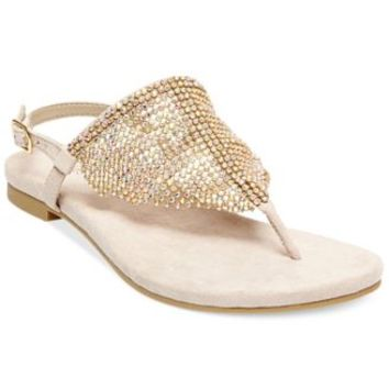 ddb432535ee15 Madden Girl Sandie Rhinestone Hooded Flat Thong Sandals