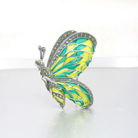 Plique A Jour Brooch. Sterling Silver Marcasite Plique A Jour Butterfly. Green Yellow Stained Glass Enamel Wings. Art Nouveau Style Jewelry.