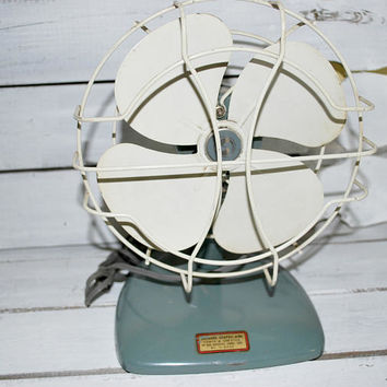 Blue Teal Table Fan with White Metal Cage , Working Electric Industrial Fan