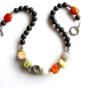 Lava Rock Necklace Raw Stone Necklace, Black Bead Necklace Natural Stone Necklace, Multicolor Agate Stone Necklace Beaded Gemstone Jewelry