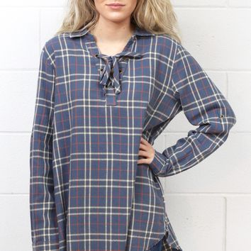 Plaid Flannel Raw Hem Lace Up Tunic {Blue Mix}