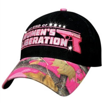 Womens Camo Baseball Cap MY KIND OF WOMEN'S LIBERATION with Rhinestone Accents Adjustable