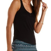 Black Racerback Pocket Tank Top by Charlotte Russe