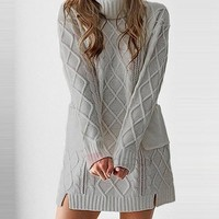Above Knee Long Sleeve Turtleneck Pullover Womens Casual Dress