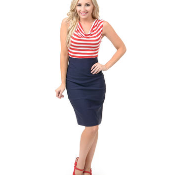 1950s Style Red, White & Navy Striped Sally Nautical Wiggle Dress