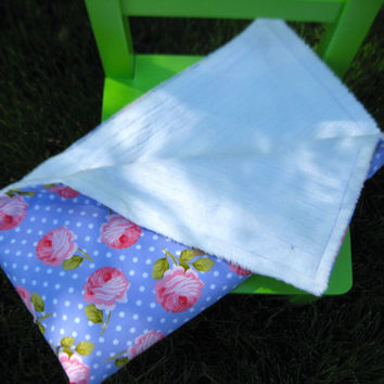 Baby Girl Minky Blanket, Roses and Polka Dots, Purple and Pink Blanket, Stroller Blanket, Michael Miller Fabric