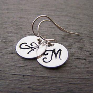 Initial Disc Dainty Hand Stamped Initial Personalized Earrings Custom Jewelry / Gift for Her