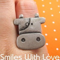 Adjustable Cute Cow Animal Ring in Silver