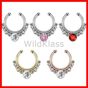 Helios with Gems Non-Piercing Septum Hanger Fake Septum Ring Faux Nose Ring Rose Gold Steel Gold Sold by Piece