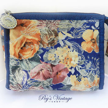 Vintage Oscar de la Renta Cosmetic Bag, Small Floral Make Up Bag, Designer Fashion Accessories