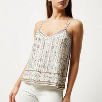 White bead embellished cami - cami / sleeveless tops - tops - women