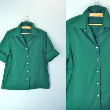 60s Green Blouse . Dark Green Shirt . Picnic Blouse . Soft Thin . Womens Size M