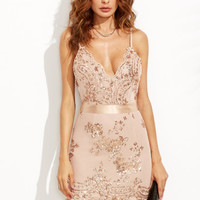 Gold Spaghetti Strap Open Back Sequins Bodycon Dress -SheIn(Sheinside)