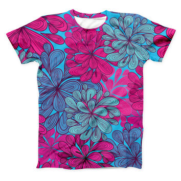 The Vibrant Colorful Floral Sprouts ink-Fuzed Unisex All Over Full-Printed Fitted Tee Shirt
