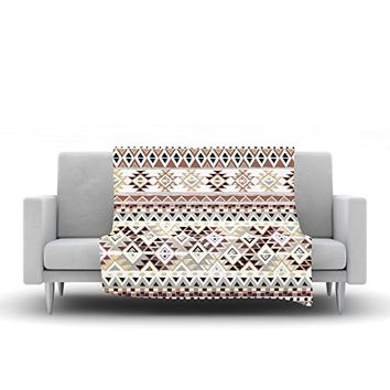 "Kess InHouse Nika Martinez ""Tribal Native in Pastel Brown"" Brown Fleece Throw Blanket, 80 by 60"""