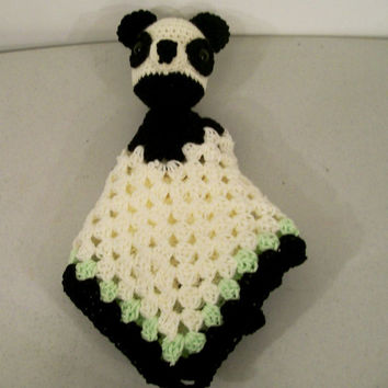 Crochet Baby Blanket--Tag Along Comfy Panda bear-Baby Shower gift