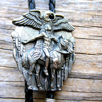 Native American Slide Pendant - Vintage Indian Bolo - Native American Pendant - Native American Necklace