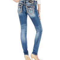 Miss Me Distressed Border-Embellished Skinny Jeans | Dillards