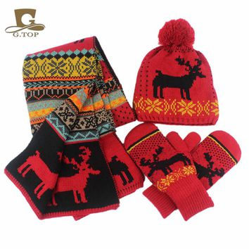 Womens girls Snowflake Print Knit Hat Finger Off Gloves and Scarf 3pcs Winter Set christmas gift
