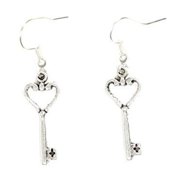 Heart Skeleton Key Earrings Antique Silver Tone Dangle Charm EG20 Victorian Fashion Jewelry