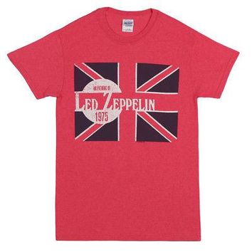 Led Zeppelin An Evening of 1975 UK Flag Logo Licensed Adult Unisex T-Shirt - Red