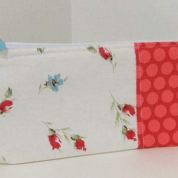 Zip Pouch-Pencil pouch- Cosmetics pouch- made by me using floral and polka dot fabric