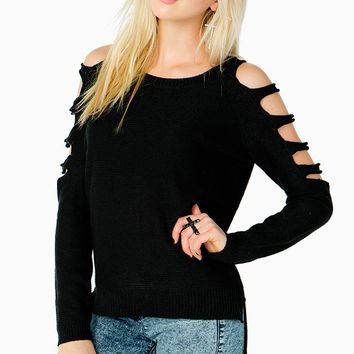 Cut Out Ladder Sleeve Sweater