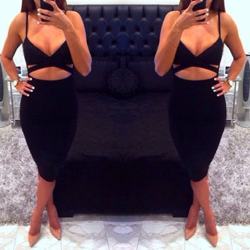 Black Strappy Cut-Out Cropped Top and Midi Skirt Set