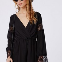 Missguided - Bell Sleeve Lace Detail Playsuit Black