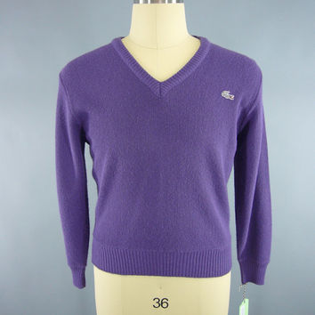 Vintage 1980s Izod Sweater / Lacoste Sweater / Men's Sweater / Preppy 80s Purple V-Neck Knit