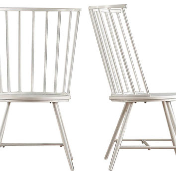 White Brent High Back Chairs, Pair, Dining Chair Sets
