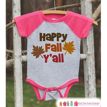 Happy Fall Y'all Shirt - Baby Fall Shirt - Toddler Girl First Fall Shirt - Pink Raglan Tshirt or Onepiece - Kids Fall Autumn - Happy Fall