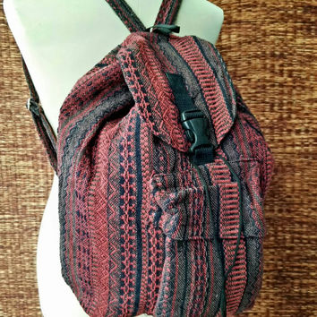 Red Backpack Tribal Boho southwestern Styles Festival Hill tribe Woven fabric Ethnic ikat design Overnight bag Hippie Men women gift Holiday