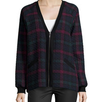 Quilted Plaid Cardigan, Multi Colors, Size: