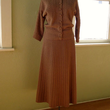Vintage 1940s Sweater Dress Sweater Skirt Cafe au Lait Brown US10 12 201449