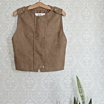 Vintage 1980s Neutral Luxe + Sueded Leather Vest