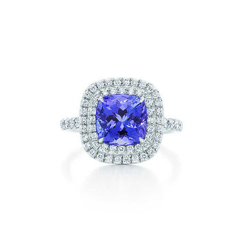 Tiffany & Co. - Tiffany Soleste ring in platinum with diamonds and a tanzanite.