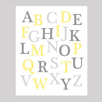 Instant Download Alphabet Yellow and Grey Print CUSTOM COLORS Animals digital nursery decor art baby room decor print digital download 8x10