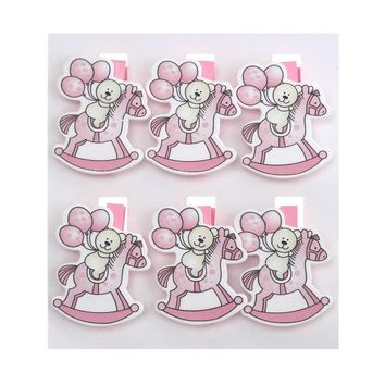 Rocking Horse Wooden Clothespins Baby Favors, 2-Inch, 6-Piece, Pink