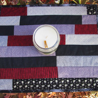 Handmade Mini Strip Quilt in Burgundy and Black, Table Topper, Mini Wall Hanging, Snack Mat, Placemat, Candle Mat, Modern,