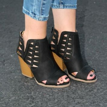 Taylor Peep Toe Booties - Black