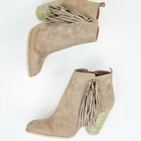 Fringe Booties in Taupe