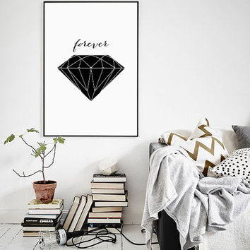 "Geometric Art Design Print, Black and White Diamond Art Poster, Unique Engagement Gift Idea 70x100, 50x70, 24x36"", A4"