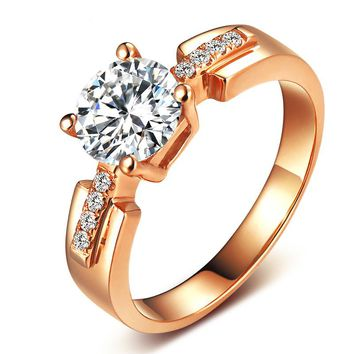 Certified Forever One 1 Carat VS D-E-F Moissanite Wedding Jewelry 18K Solid Rose Gold Solitaire Diamond  Women Engagement Rings