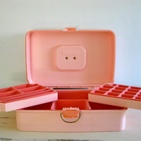 FALL SALE 1980s Bubblegum Pink Caboodles Makeup/Jewelry Box with Faux Velvet Lined Organizer Trays